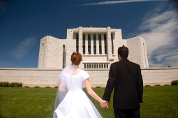 A bride and groom at a Mormon Temple