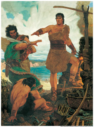 Nephi subdues his rebellious elder brothers Mormon